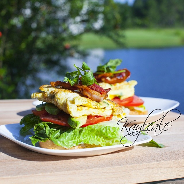 Open-faced Bacon, Egg Omlette, Avocado, Tomato, and Lettuce Sandwich - See more at httpkayleasopenbook.com#sthash.eOW2ju9G.dpuf