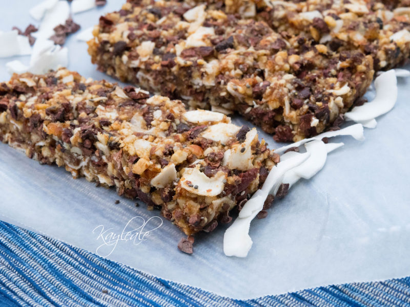 Healthy Paleo Granola Bars Recipe with Chocolate Chips Close up