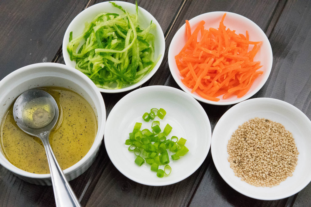 Amazing Paleo Friendly Spiralizer Cucumber and Carrot Salad ingredients