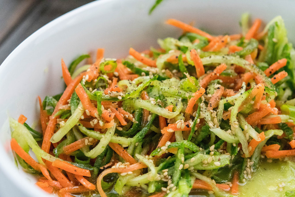Amazing Paleo Friendly Spiralizer Cucumber and Carrot Salad main