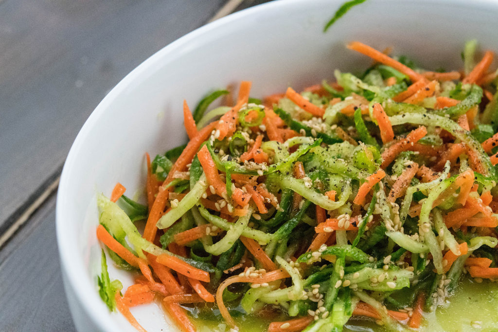 Amazing Paleo Friendly Spiralizer Cucumber and Carrot Salad main2